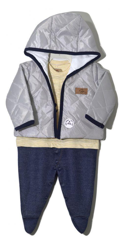Macacão infantil masculino para bebê com casaco de capuz My First da Keko