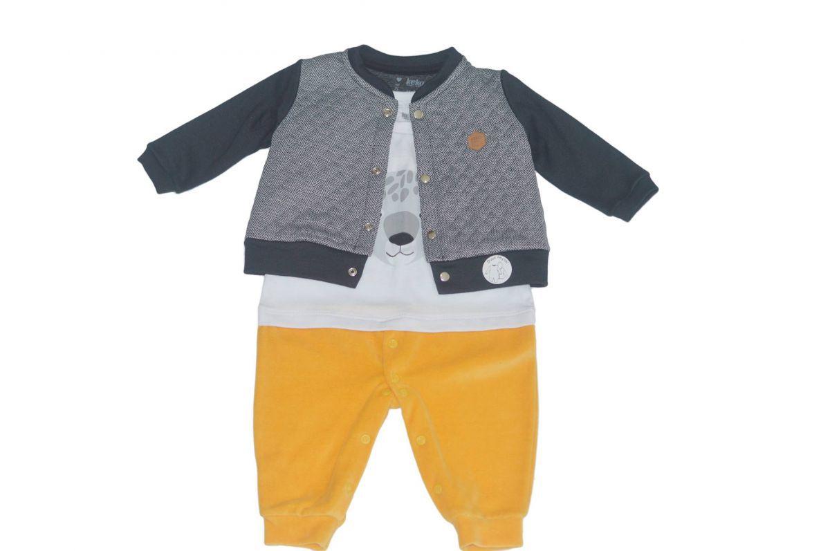 Macacão infantil masculino para bebê com casaco Keko