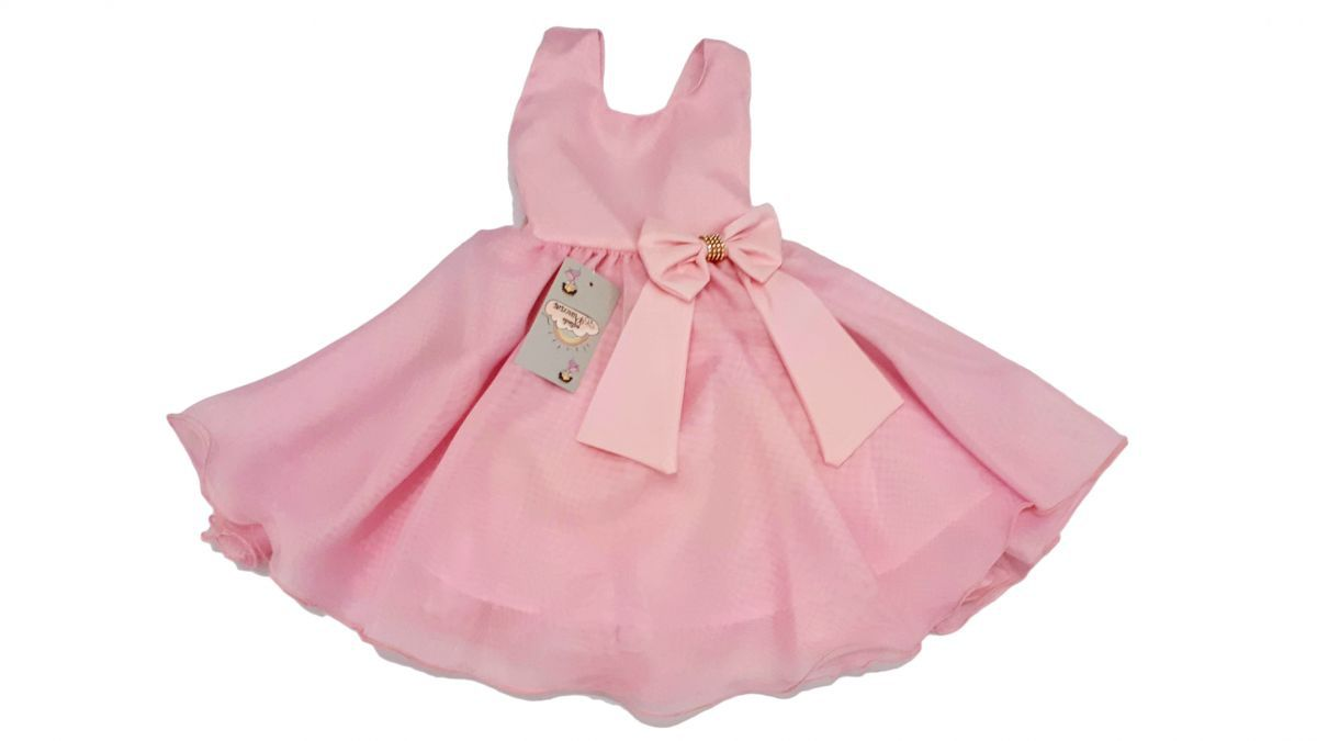 Vestido infantil de festa com forro e laço Princesa