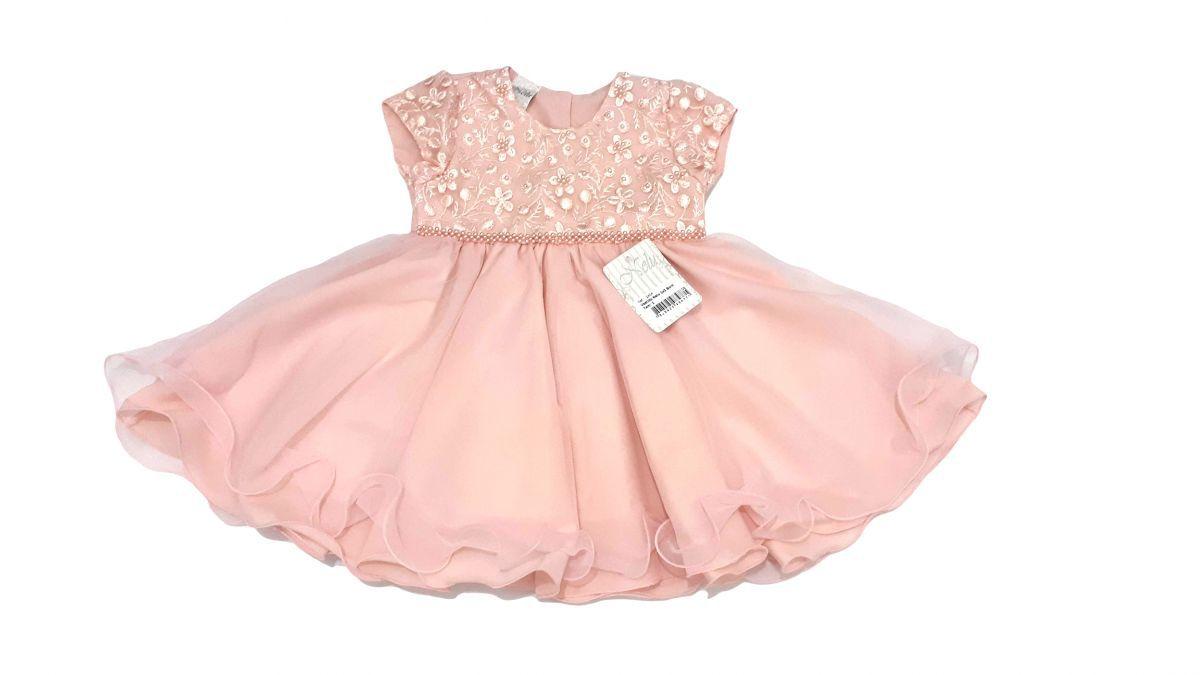 Vestido infantil de festa com forro e pérolas Princesa
