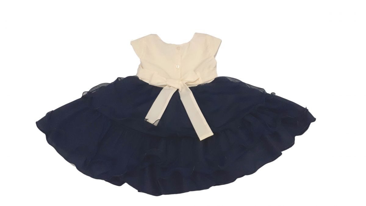 Vestido infantil de festa marinho com forro e laço Princesa