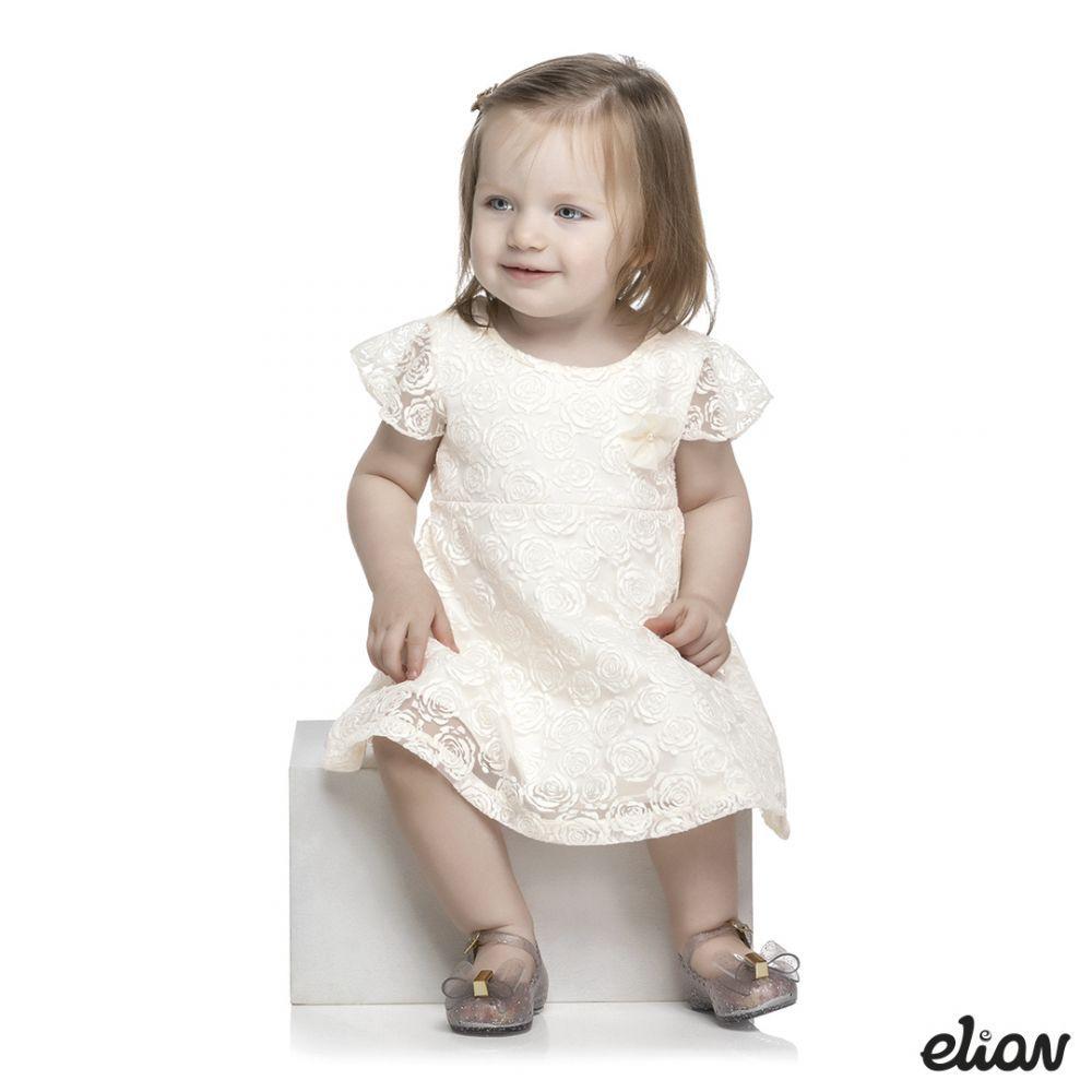Vestido infantil de flores com forro Elian