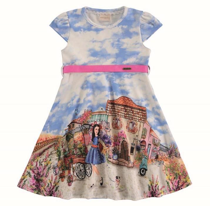 Vestido infantil de verão com a estampa de nuvens e paisagens Milli & Nina