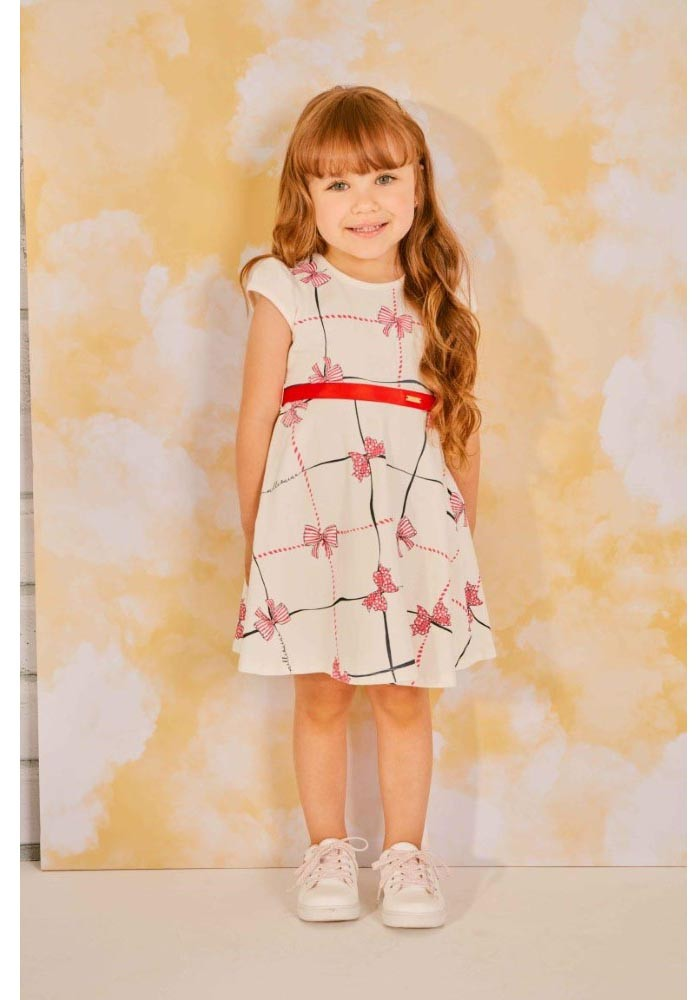 Vestido infantil de verão em cotton com Lacinhos estampados Milli & Nina