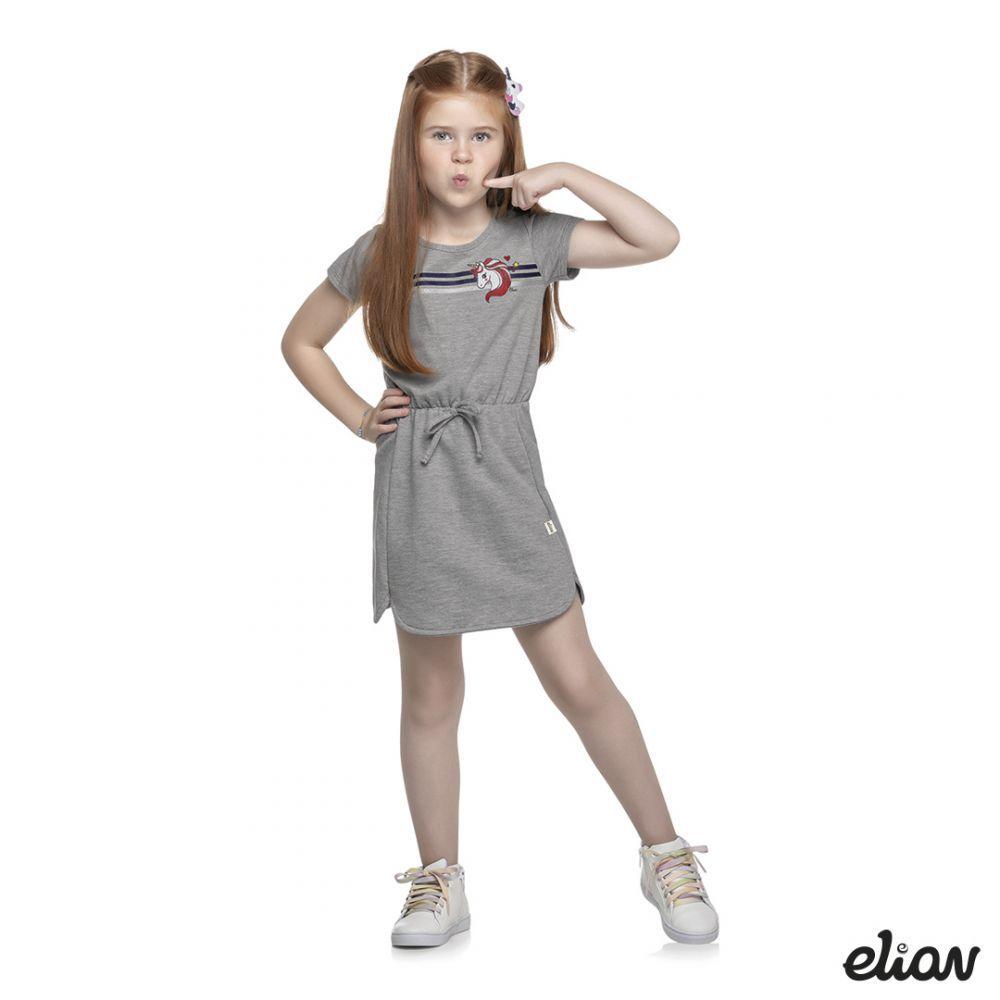 Vestido infantil Elian Manga Curta Unicórnio