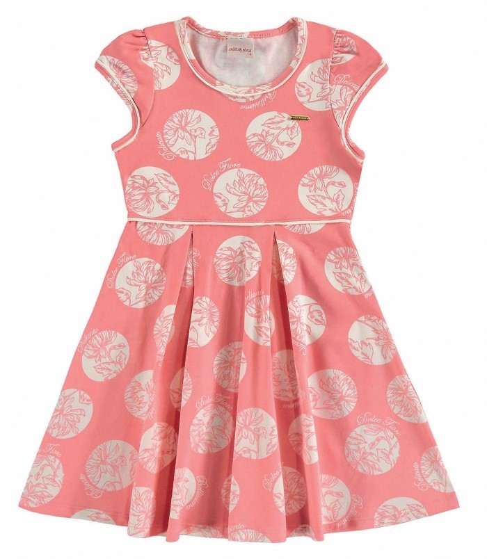 Vestido infantil Belissima em cotton poá floral Milli & Nina