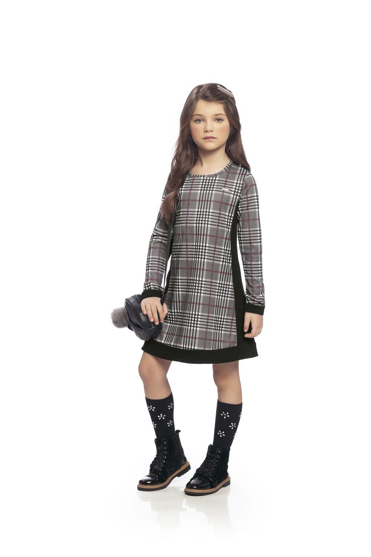 Vestido infantil em cotton xadrez Milli e Nina