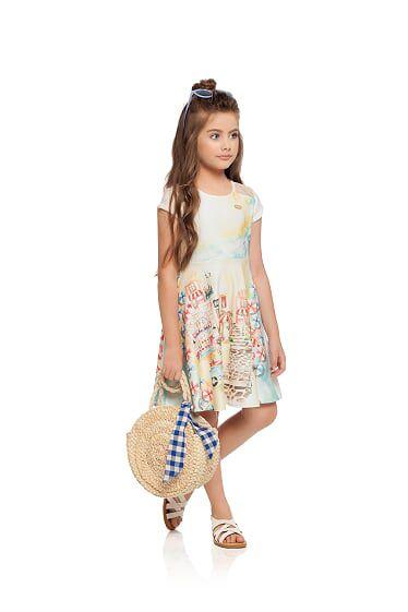 Vestido  infantil em crepe e malha Milli e Nina