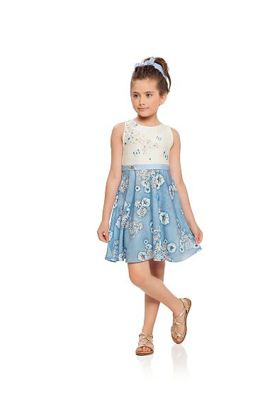 Vestido infantil em crepe e malha versalhes Milli e Nina