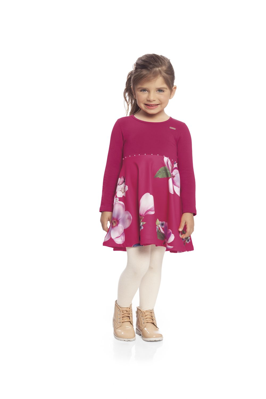 Vestido infantil de inverno em Molecotton Felpado Milli & Nina