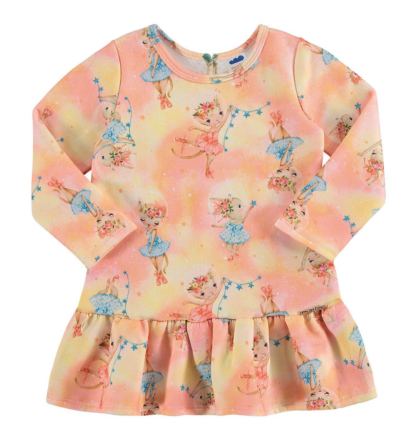 Vestido infantil em moletom Bailarinas Marlan