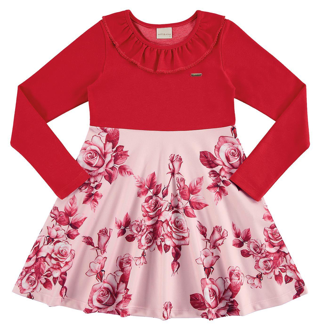 Vestido infantil de inverno Floral em interlock Milli & Nina