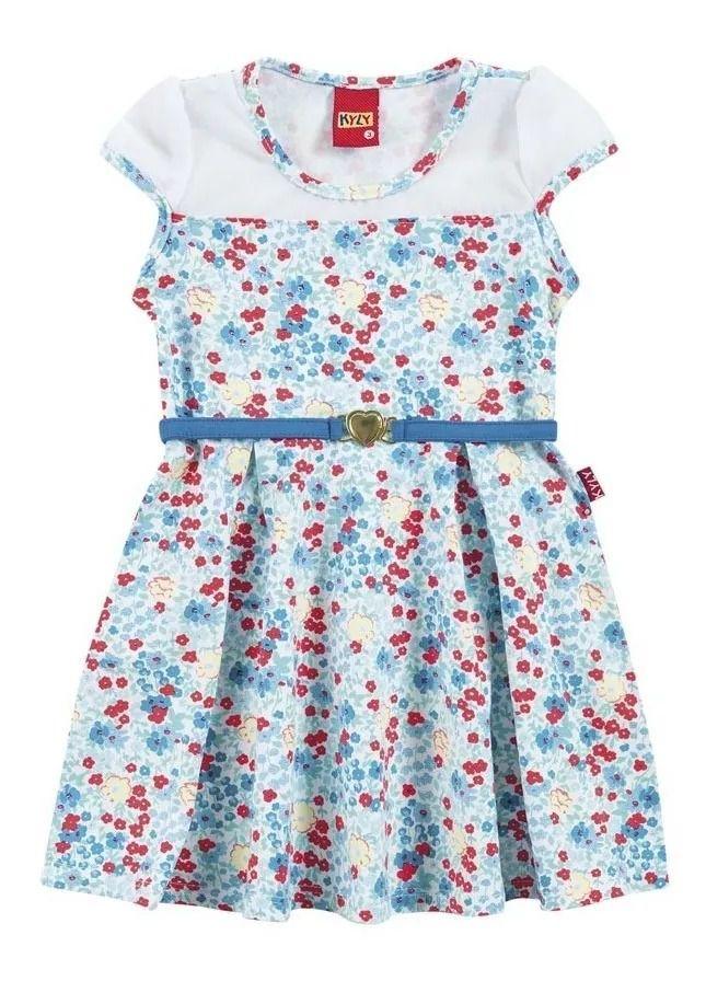 Vestido infantil florido azul Kyly