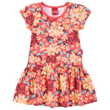 Vestido infantil florido com onça Kyly