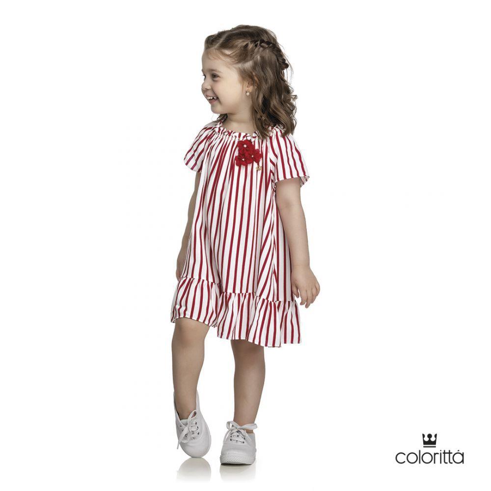 Vestido infantil listrado Coloritta