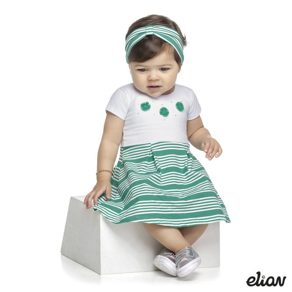 Vestido infantil listrado com faixa de cabelo Elian