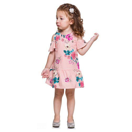 Vestido infantil listrado e florido Mundi