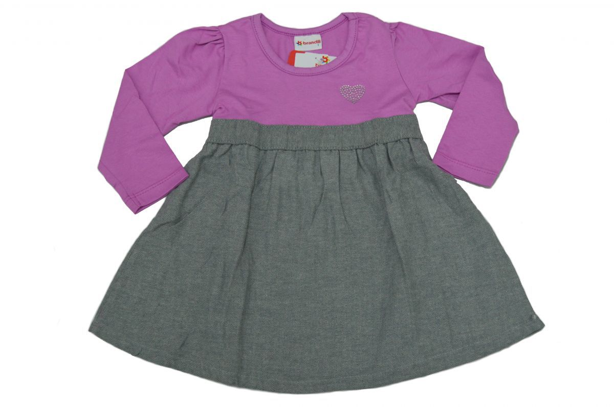 Vestido infantil manga longa Lilás Brandili