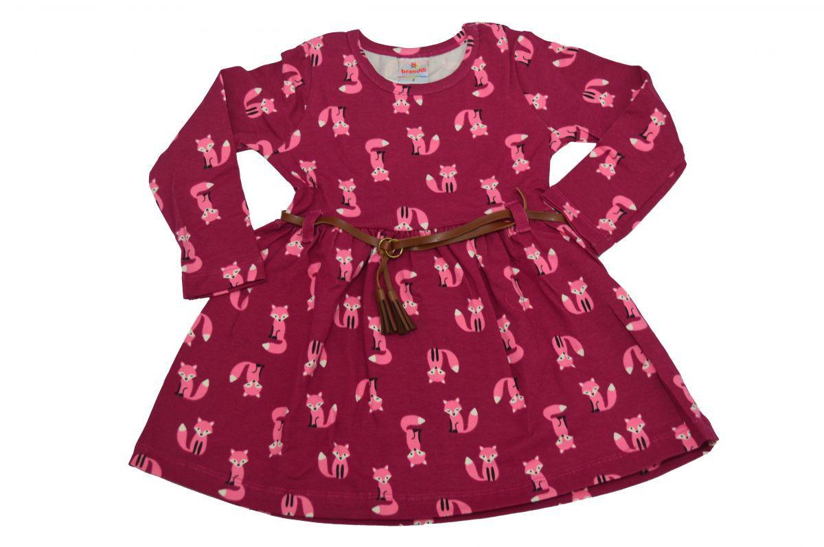 Vestido infantil manga longa Raposinha Brandili