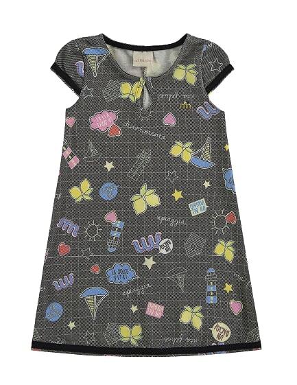Vestido Infantil em Malha Versalhes Estampado Milli & Nina