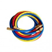 """Jogo de Mangueira (Azul, Vermelha e Amarela) Compr.36"""" (90cm) Conexão 1/4"""" SAE"""