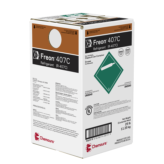 Fluido Refrigerante FREON 407C (R-407C) DAC 11,35 Kg  (Antigo Dupont Suva 407C)