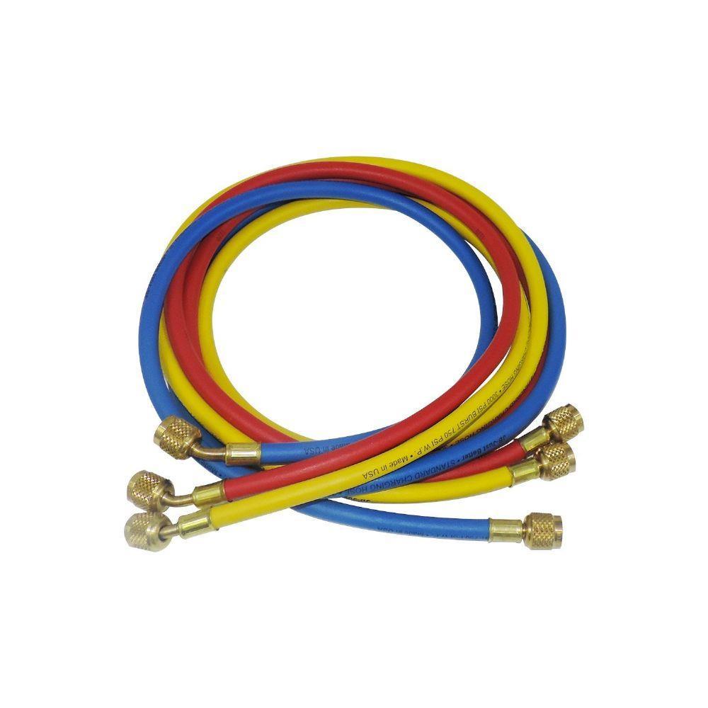"""Jogo de Mangueira (Azul, Vermelha, Amarela) Compr.60"""" (150cm)  Conexão 1/4 SAE"""