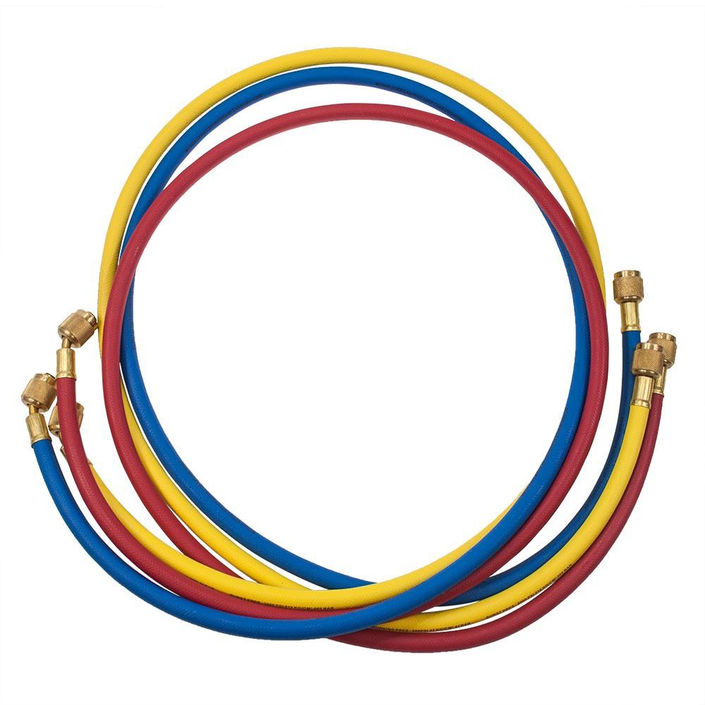 """Jogo de Mangueira (Azul, Vermelha, Amarela) Compr.96"""" (180cm)  Conexão 1/4 SAE"""