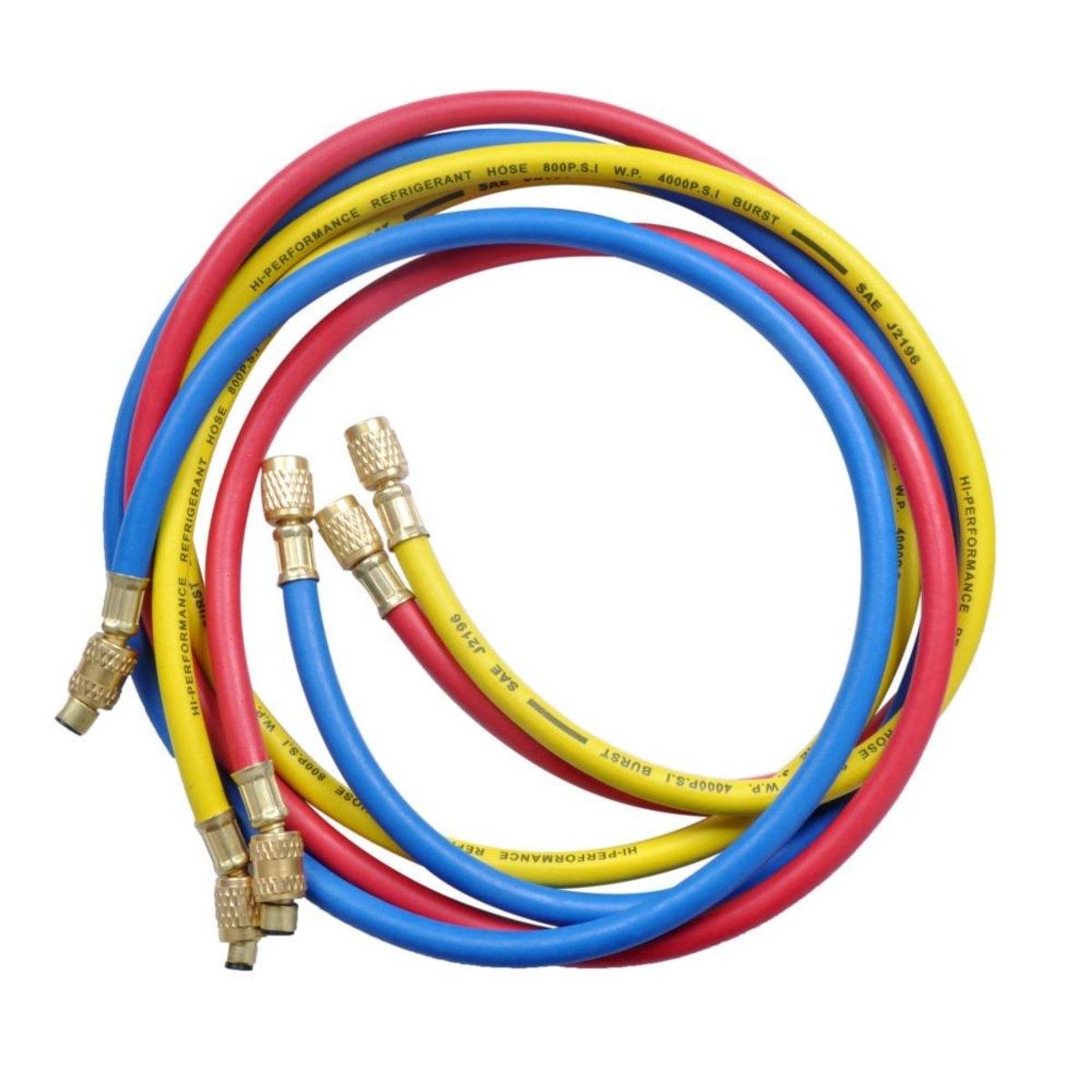 """Jogo de Mangueira R410 (Azul, Vermelha 1/4 x 5/16 SAE e Amarela 1/4 x1/4 SAE) Compr.36"""" (90cm) 4.000PSI"""