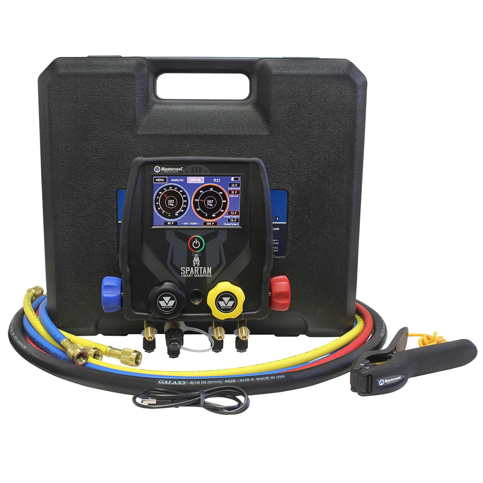 Manifold Digital Spartan 4 vias Vacuômetro Bluetooth 4 mangueiras MASTERCOOL 99946-BT-2