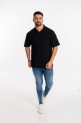 Camisa Pólo Masculina manga curta sem bolso PRETO