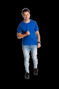 Camiseta masculina fio 30/1 algodão AZUL ROYAL adulto