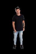 Camiseta masculina fio 30/1 algodão PRETO adulto