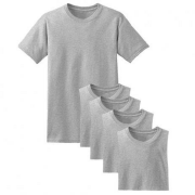 Kit 5 camisetas fio 30 CINZA MESCLADO adulto