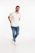 Kit 5 camisetas fio 30 algodão cor BRANCA com reforço