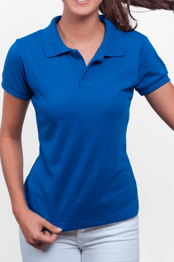 Camisa polo feminina manga curta sem bolso AZUL ROYAL