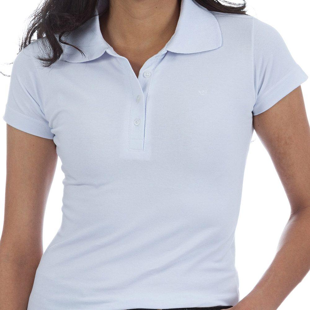 Camisa polo feminina manga curta sem bolso  BRANCO