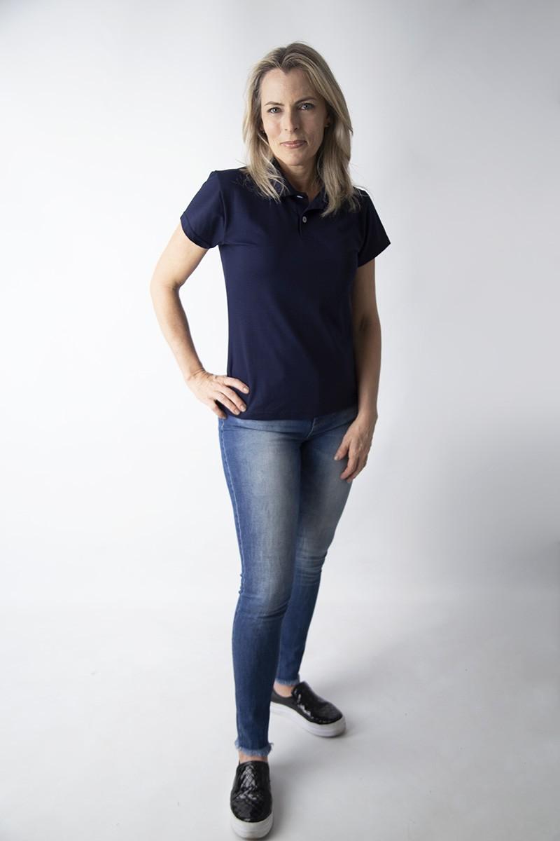 Camisa polo feminina manga curta sem bolso  AZUL MARINHO