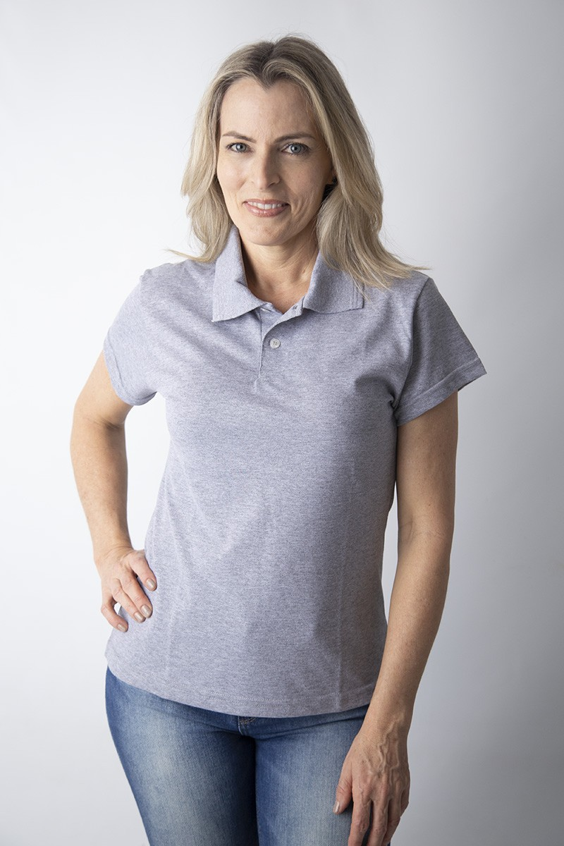 Camisa polo feminina manga curta sem bolso MESCLA