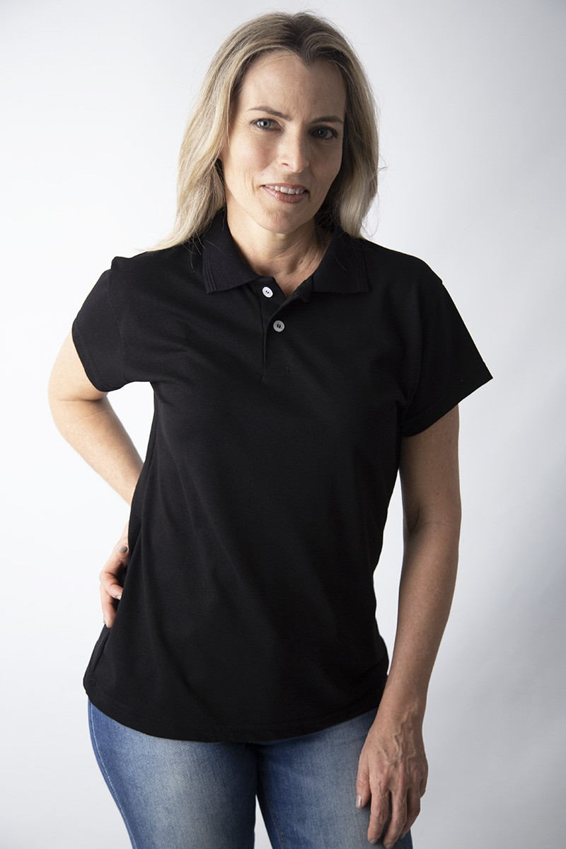 Camisa polo feminina manga curta sem bolso PRETO