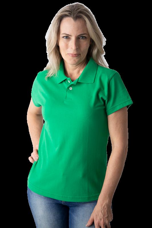 Camisa polo feminina manga curta sem bolso VERDE BANDEIRA