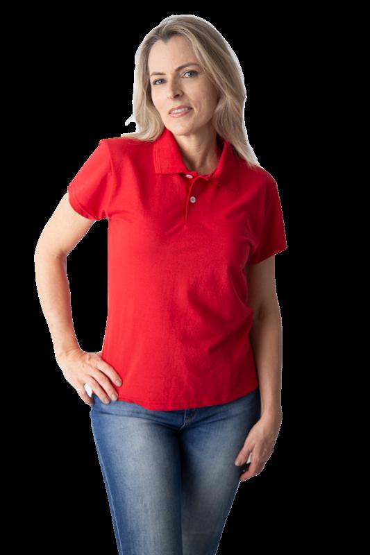Camisa polo feminina manga curta sem bolso VERMELHO