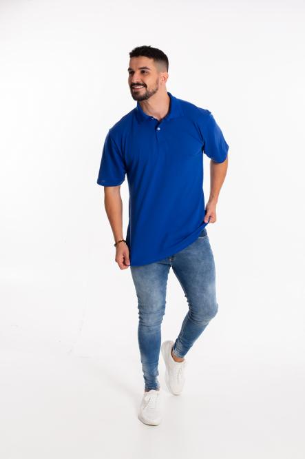 Camisa Pólo Masculina manga curta sem bolso azul royal