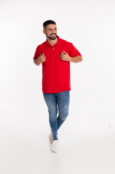 Camisa Pólo Masculina manga curta sem bolso VERMELHO