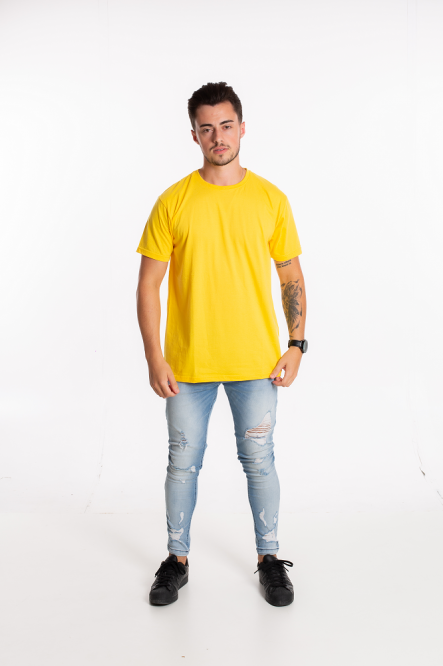 Camiseta masculina fio 30/1 algodão AMARELO CANARIO adulto
