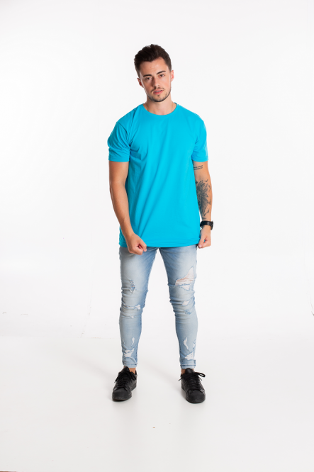 Camiseta masculina fio 30/1 algodão AZUL TURQUESA adulto