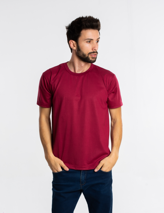 Camiseta adulto manga curta PV BORDO