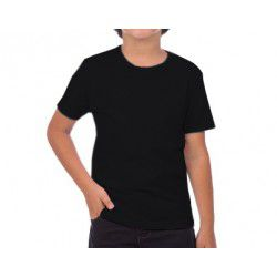 Camiseta juvenil manga curta 30/1 PRETO