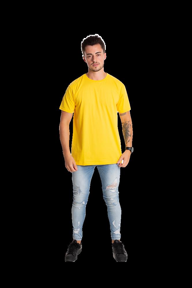 Camiseta masculina fio 30/1 algodão AMARELO OURO adulto