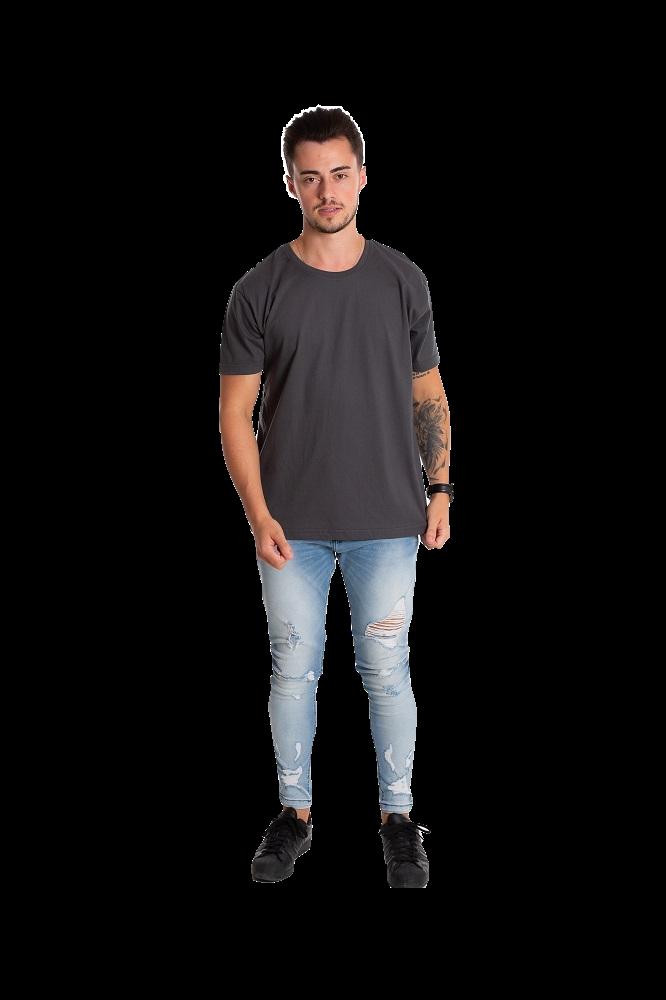 Camiseta masculina fio 30/1 algodão CINZA CHUMBO adulto